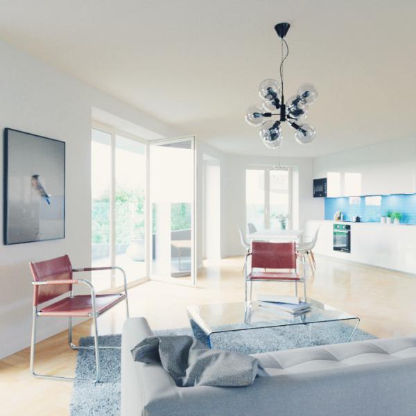 Tágas, világos nappali, igazi penthouse lakás